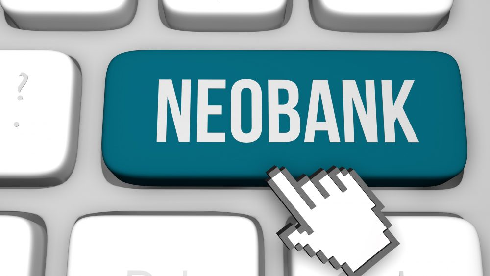 Graphic depiction of a computer key with the word neobank on it.