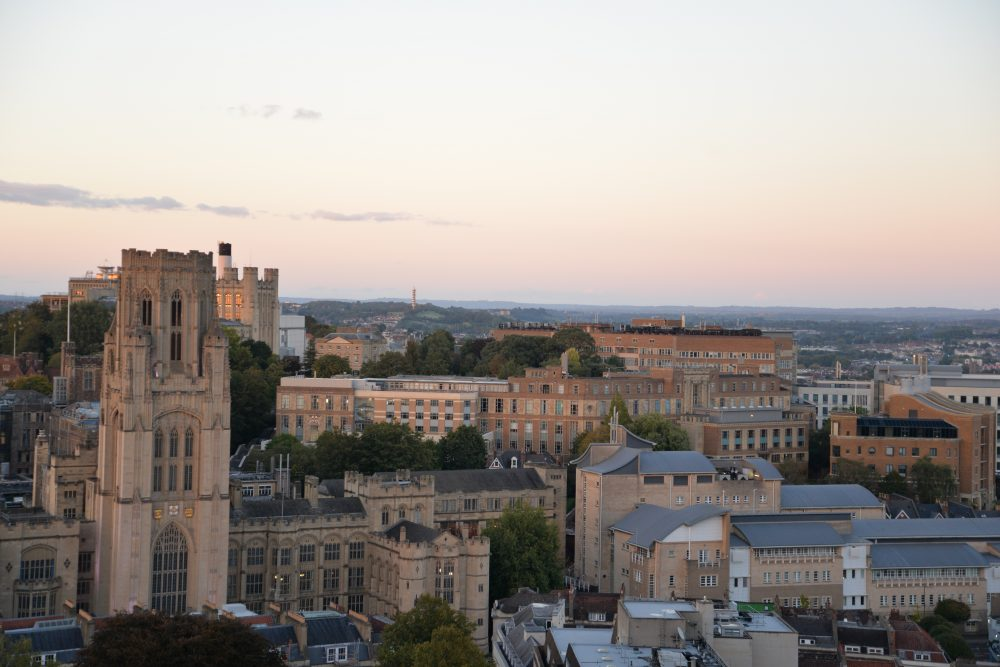 Aerial view of Bristol and the University of Bristol.
