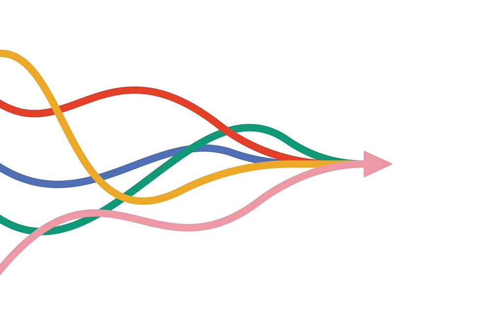 Five coloured wavy lines which flow together to end in a right facing arrow.