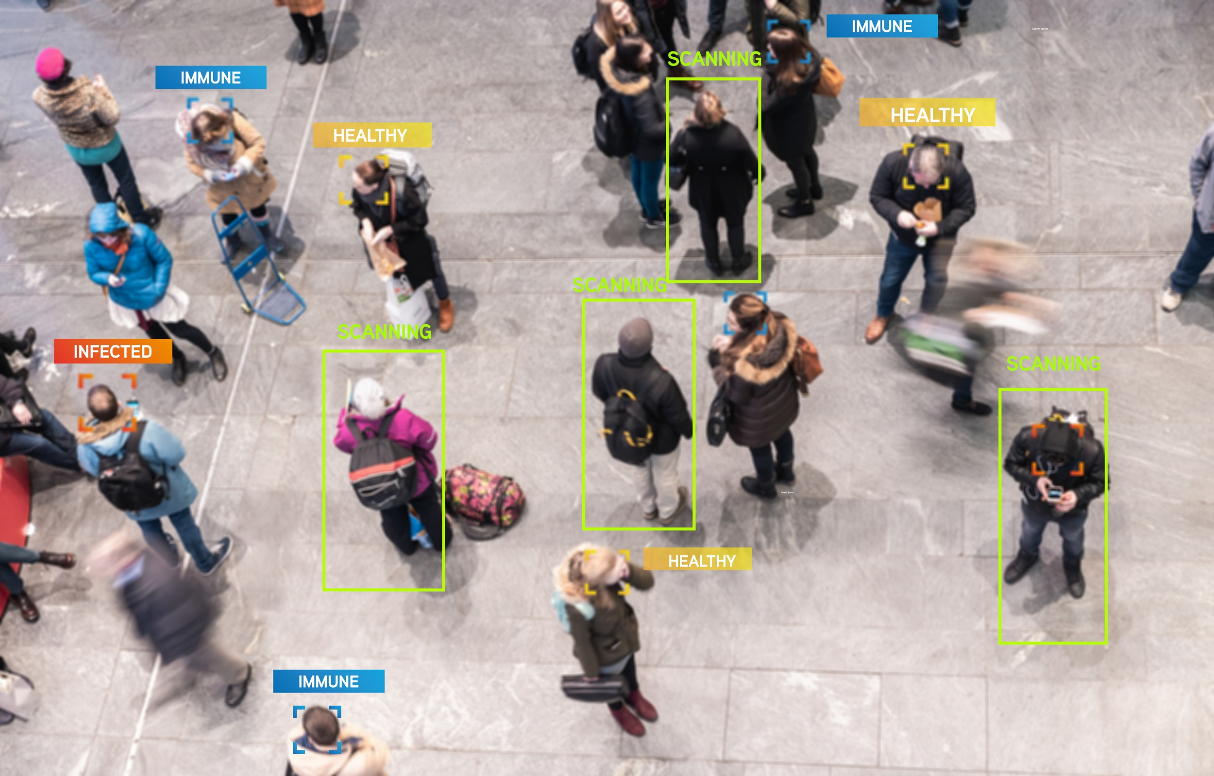 Aerial view of people who have been virtually tagged by an app scan.